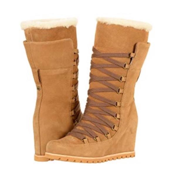 f0cf5d04f0d9 🎁New Ugg Mason Tall Chestnut Wedge boots Sz 10